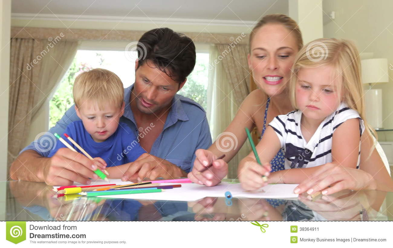 Father Helping Son And Mother Stock Video Footage - Video of drawing ...