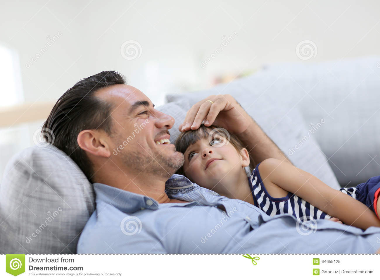 Father And His Little Girl Relaxing In Sofa Stock Image Image Of