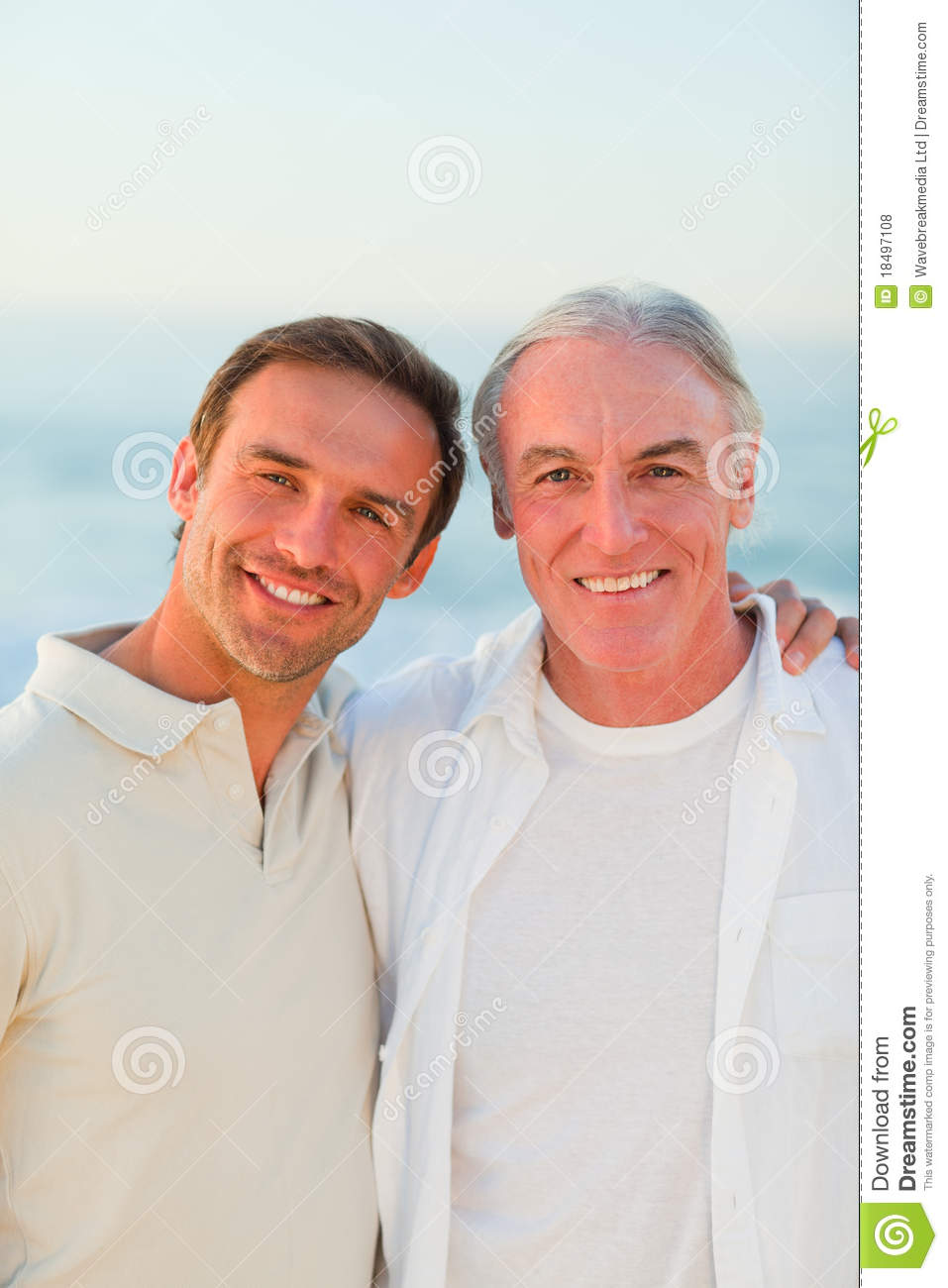 Father With His Son At The Beach Royalty Free Stock Photos