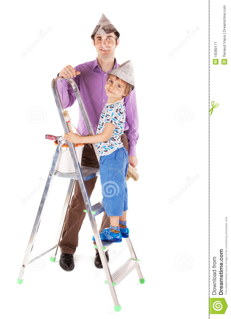 Father and his son decorating their new house
