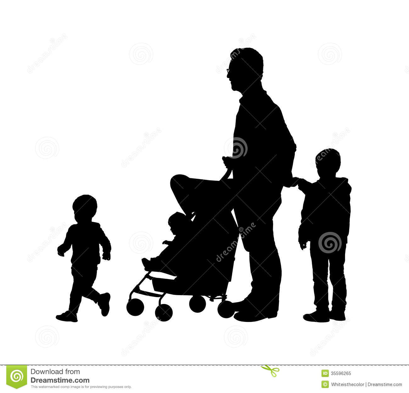 father with his three children silhouettes royalty free baby buggy clipart free pink baby buggy clipart