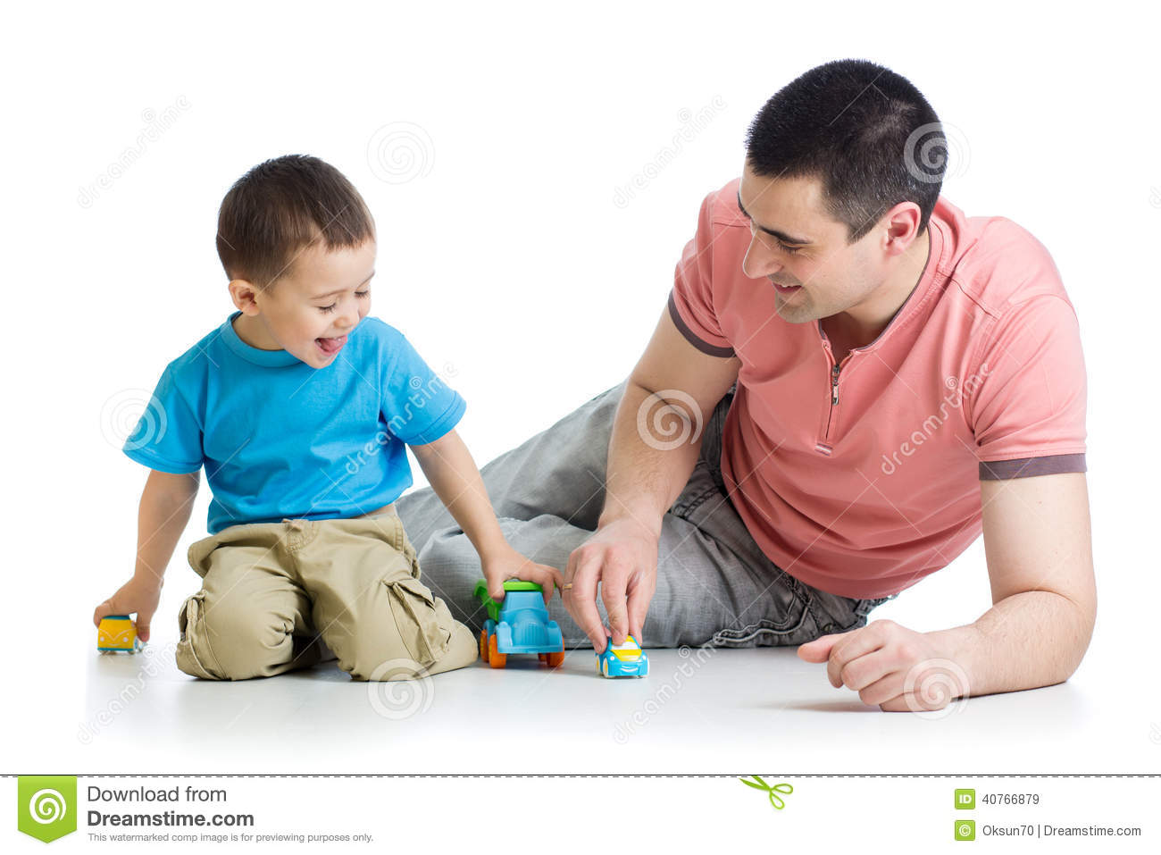 Boy Toys For Dads : Kid boy and father play with car toys stock image