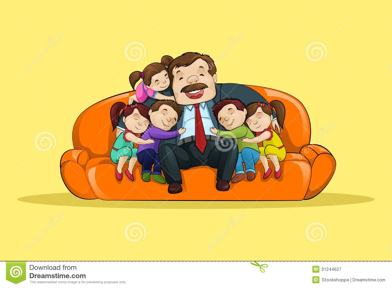 Father With Kid Sitting In Sofa Royalty Free Stock