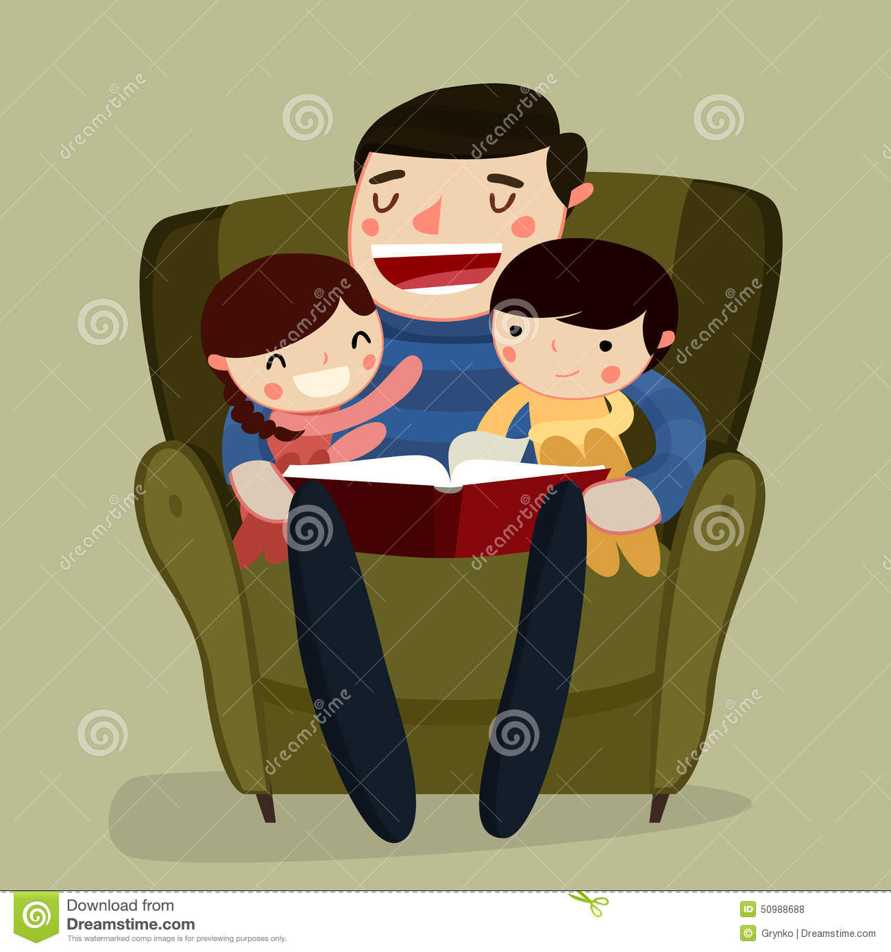 Cartoon Characters Reader : Father and kids reading vector illustration stock