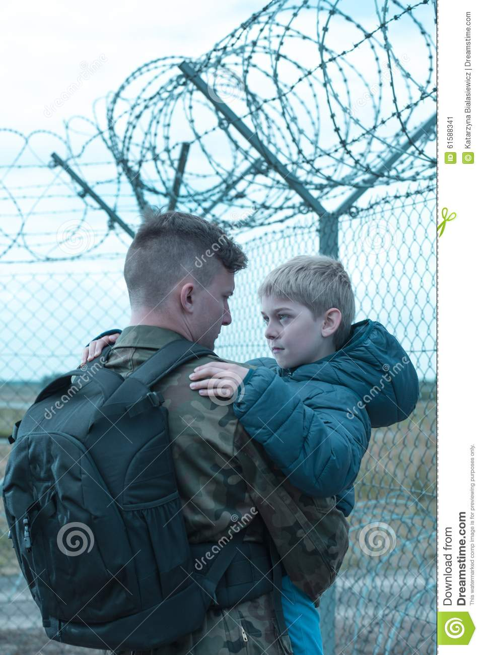 father leaving son stock photo