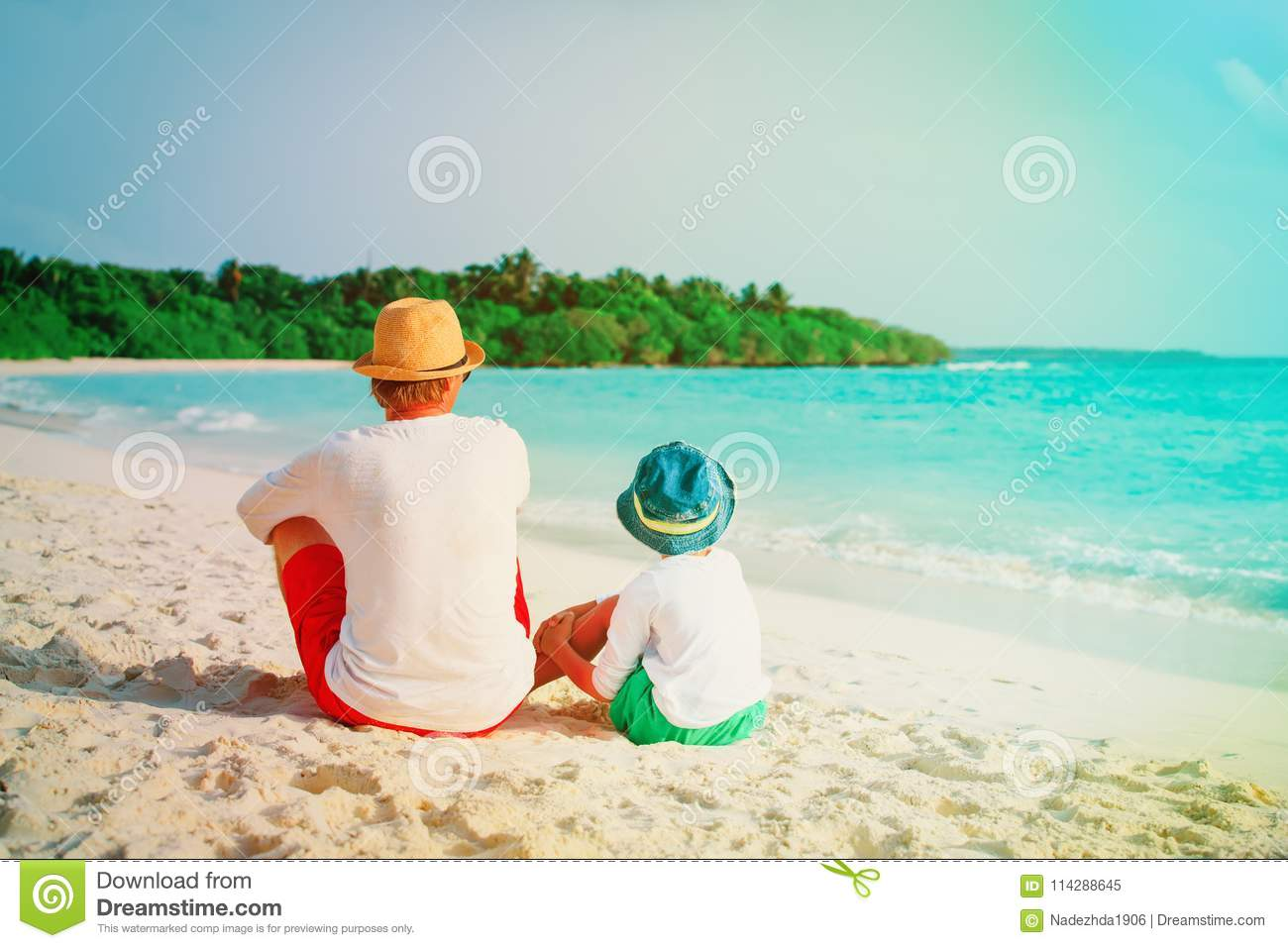 Father and little son looking at sea on beach