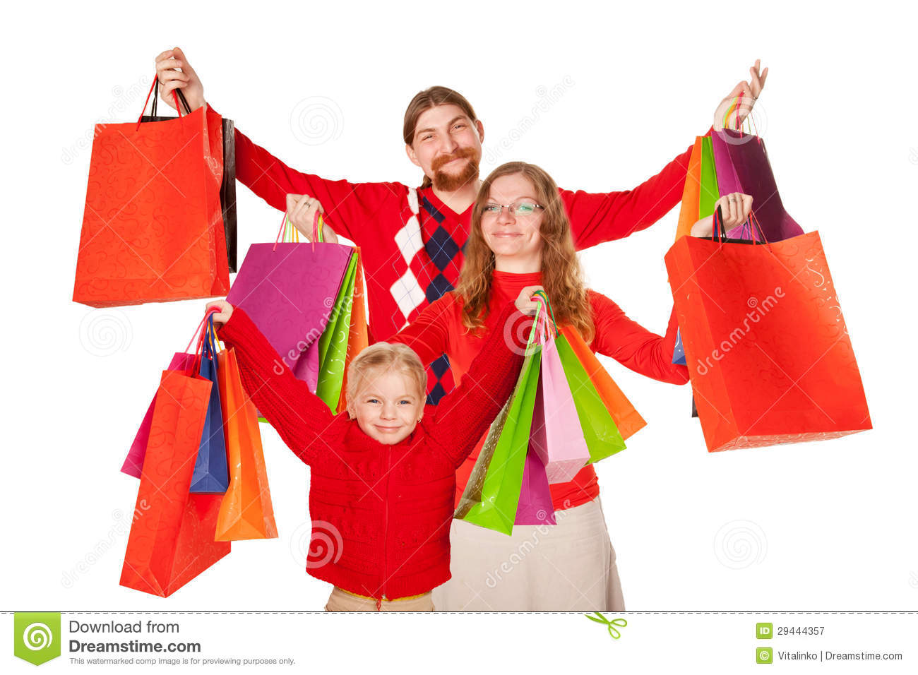 Father, Mother And Child Holding Up Shopping Bags Royalty Free ...