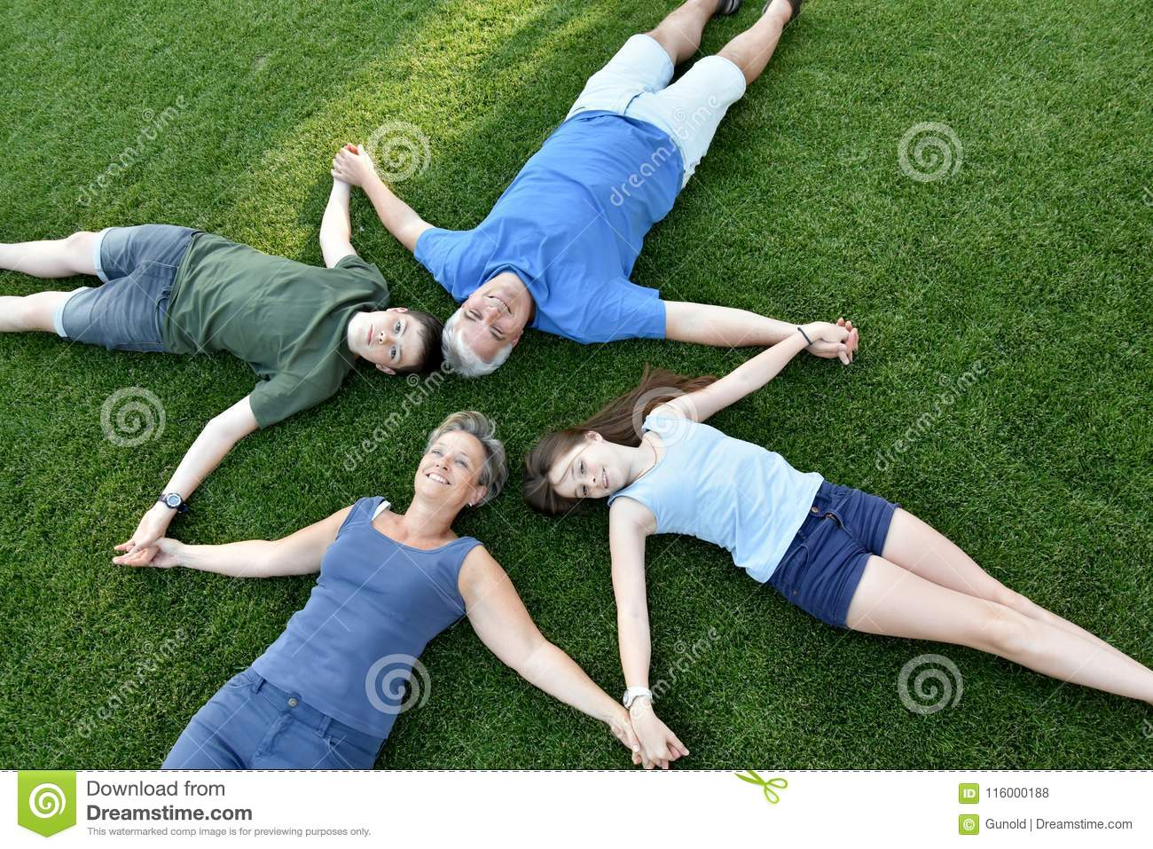 Family, father, mother, son and daughter lying in the meadow