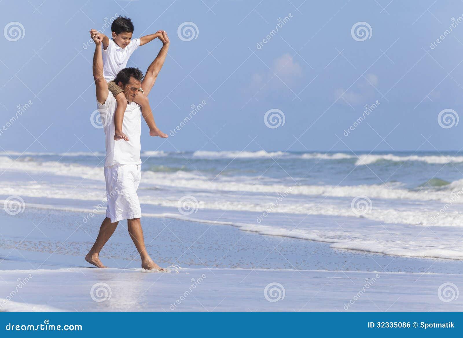 Father Parent Boy Child Family Beach Fun