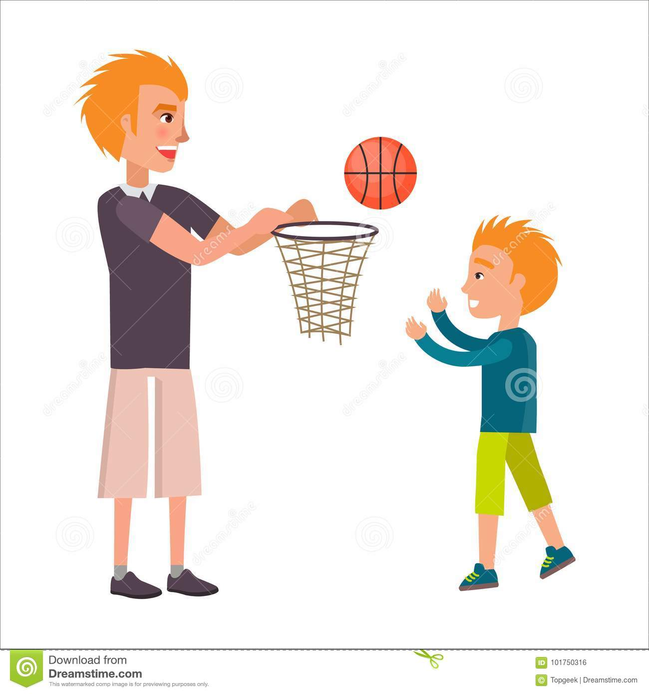 Father Playing Basketball With His Adorable Son Stock ...