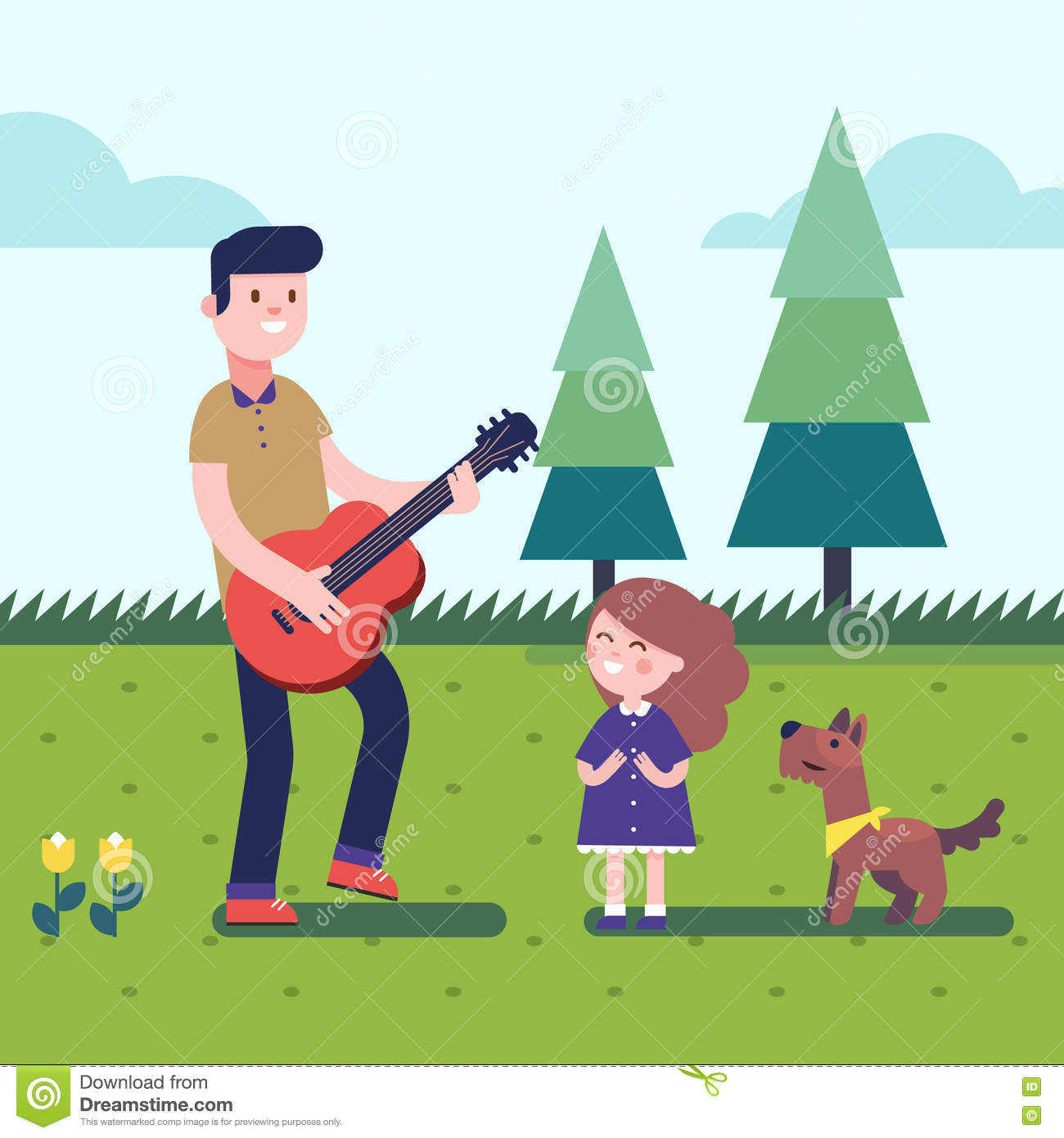 Father Playing Guitar To His Daughter With A Dog Stock ...