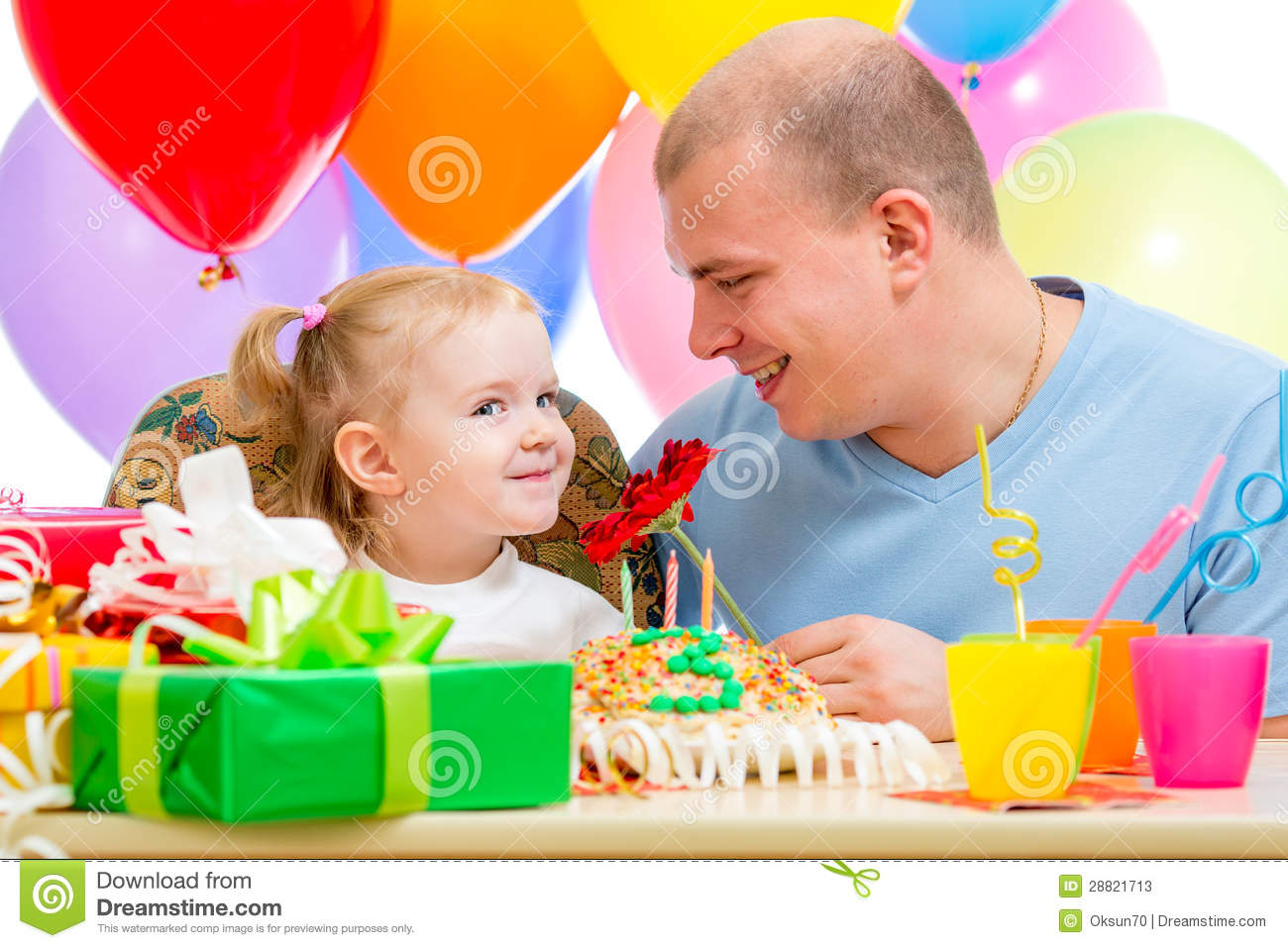 Father Presentiing Flower Gift Child Girl On Birthday Party Stock