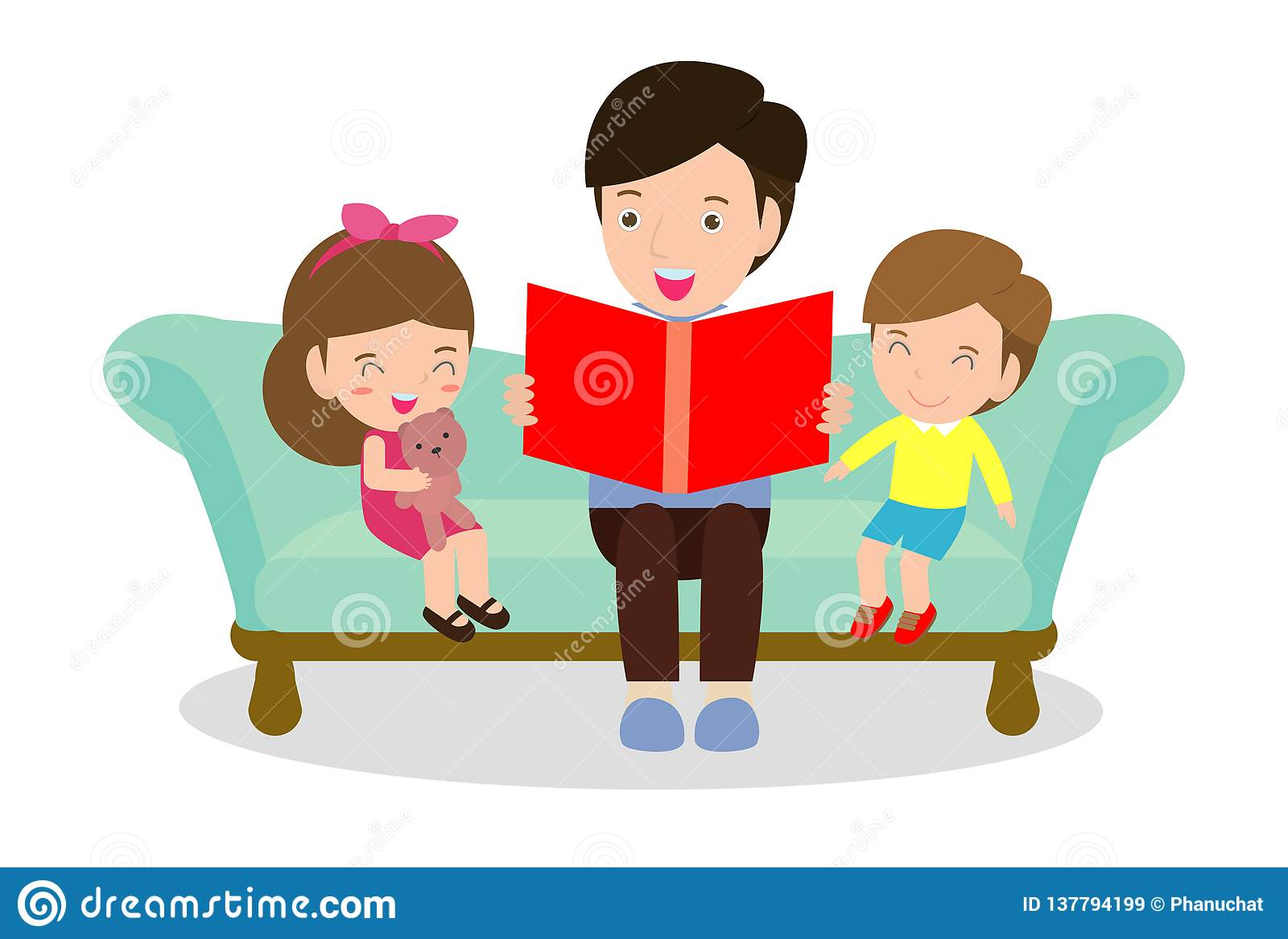 Father Reading Fairy Tales To His Son And Daughter, Family