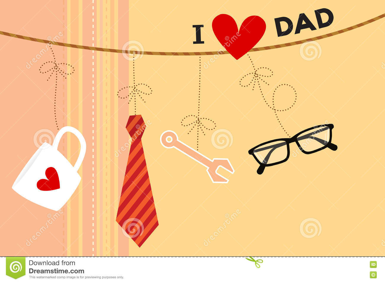 Fathers day card stock vector illustration of illustration 73378070 vector of greeting cards for fathers day including coffee cup necktie tool and glasses hanging and bound with rope on a beige color background m4hsunfo