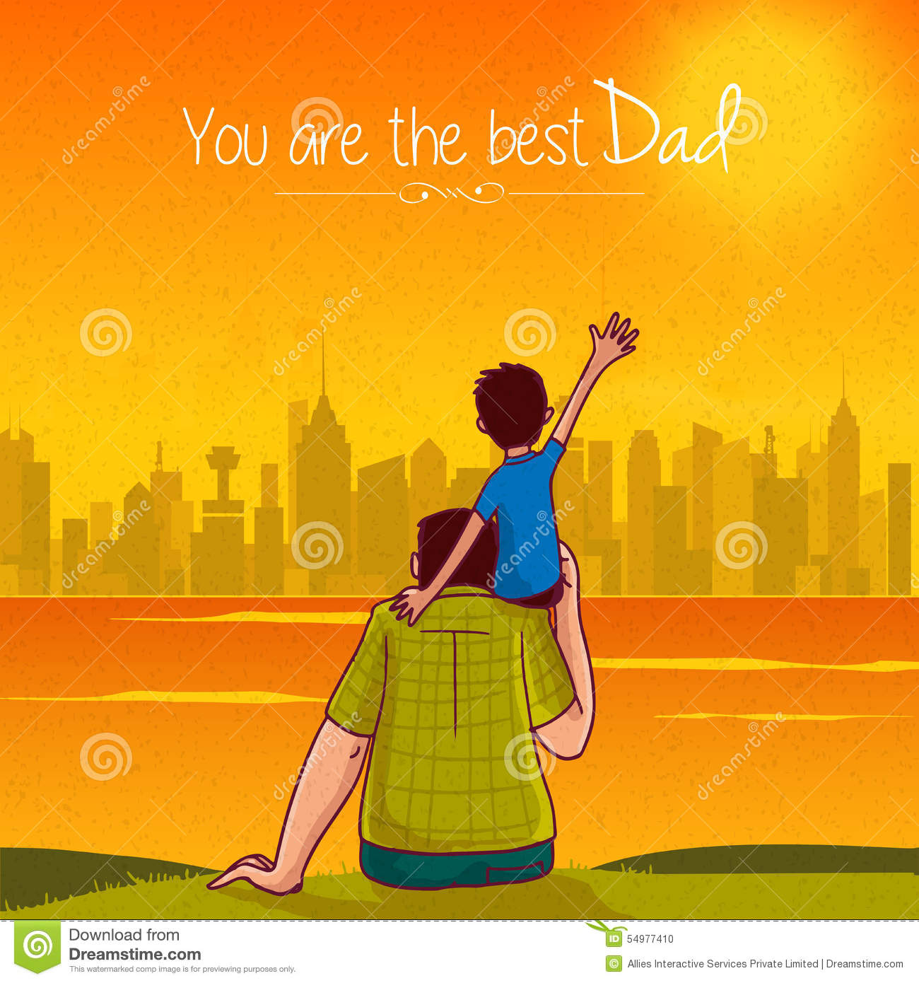 Fathers day greeting card with son and father stock illustration fathers day greeting card with son and father m4hsunfo Image collections