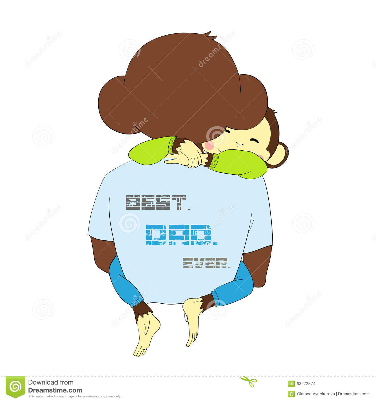Cute Cartoon Character Design : Father s day monkey child hugging dad stock vector