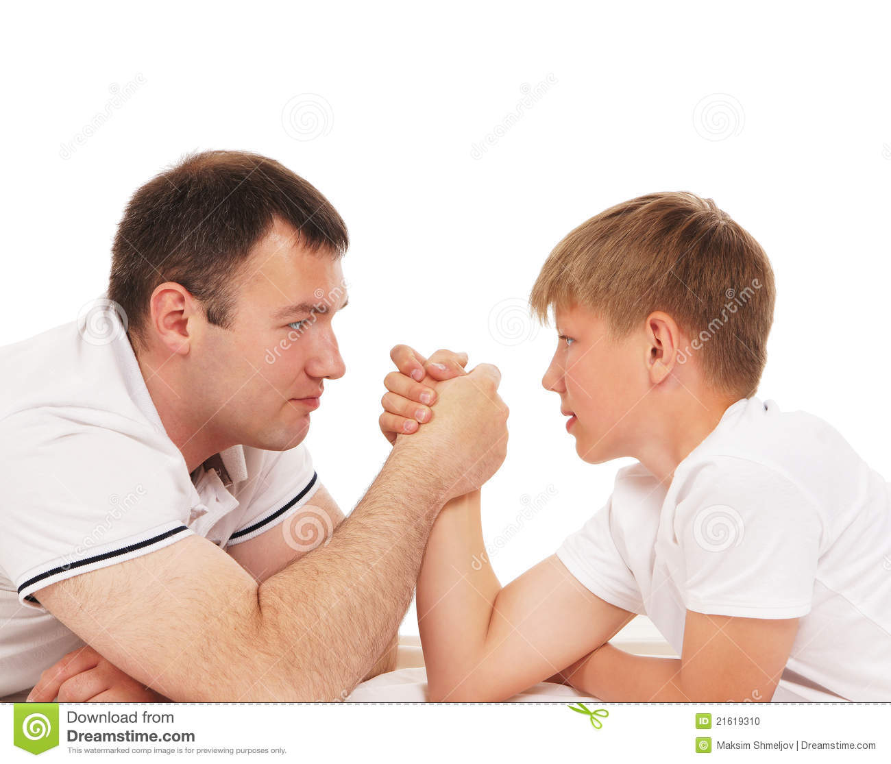 father and son in arm wrestling competition stock photo image of isolated background 21619310. Black Bedroom Furniture Sets. Home Design Ideas
