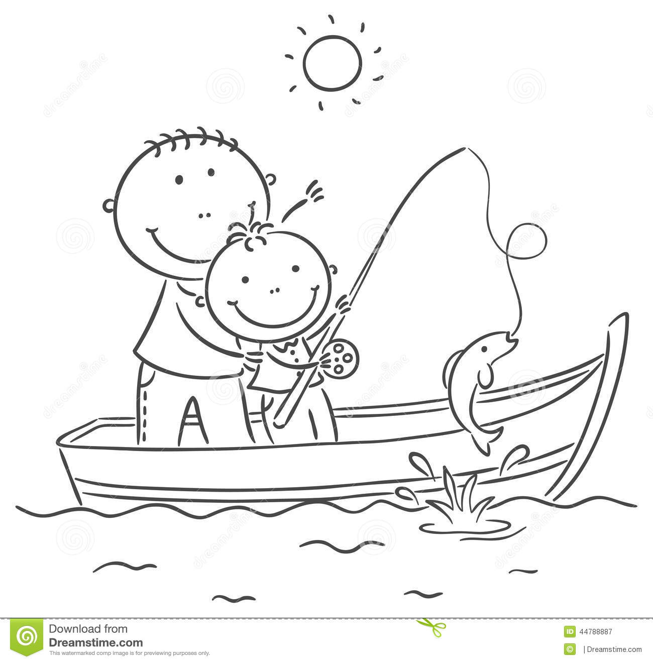 Father And Son In The Boat, Fishing Stock Vector - Image: 44788887