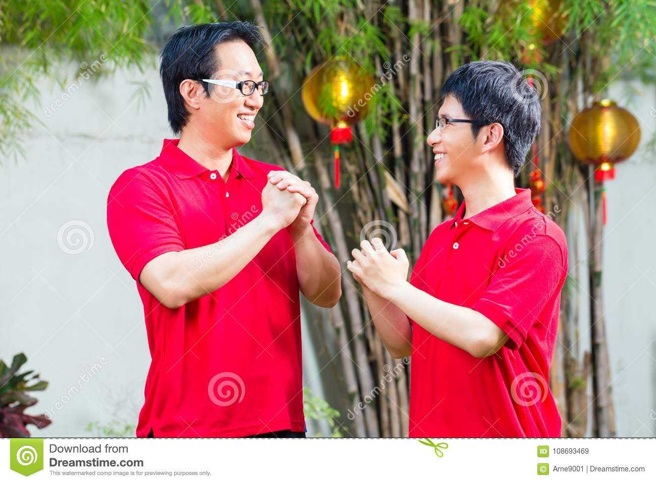 Father And Son Celebrate Chinese New Year Stock Image Image Of