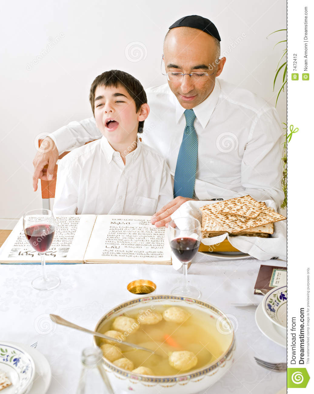 Father And Son Celebrating Passover Stock Photo - Image of