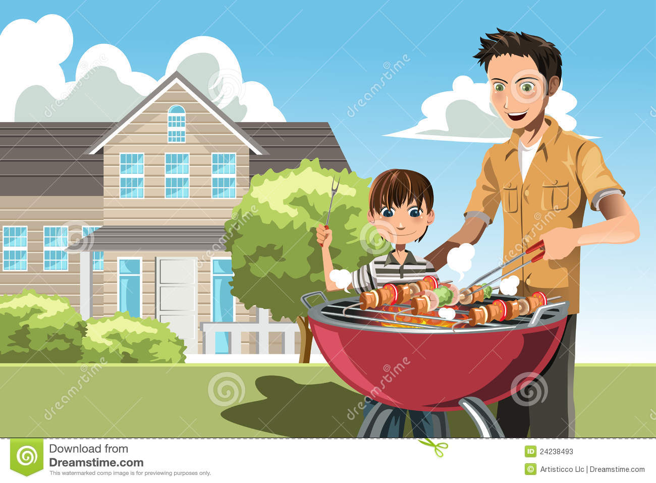 father and son doing barbecue stock photos image 24238493 fireman clip art images black and white Black Fireman Clip Art