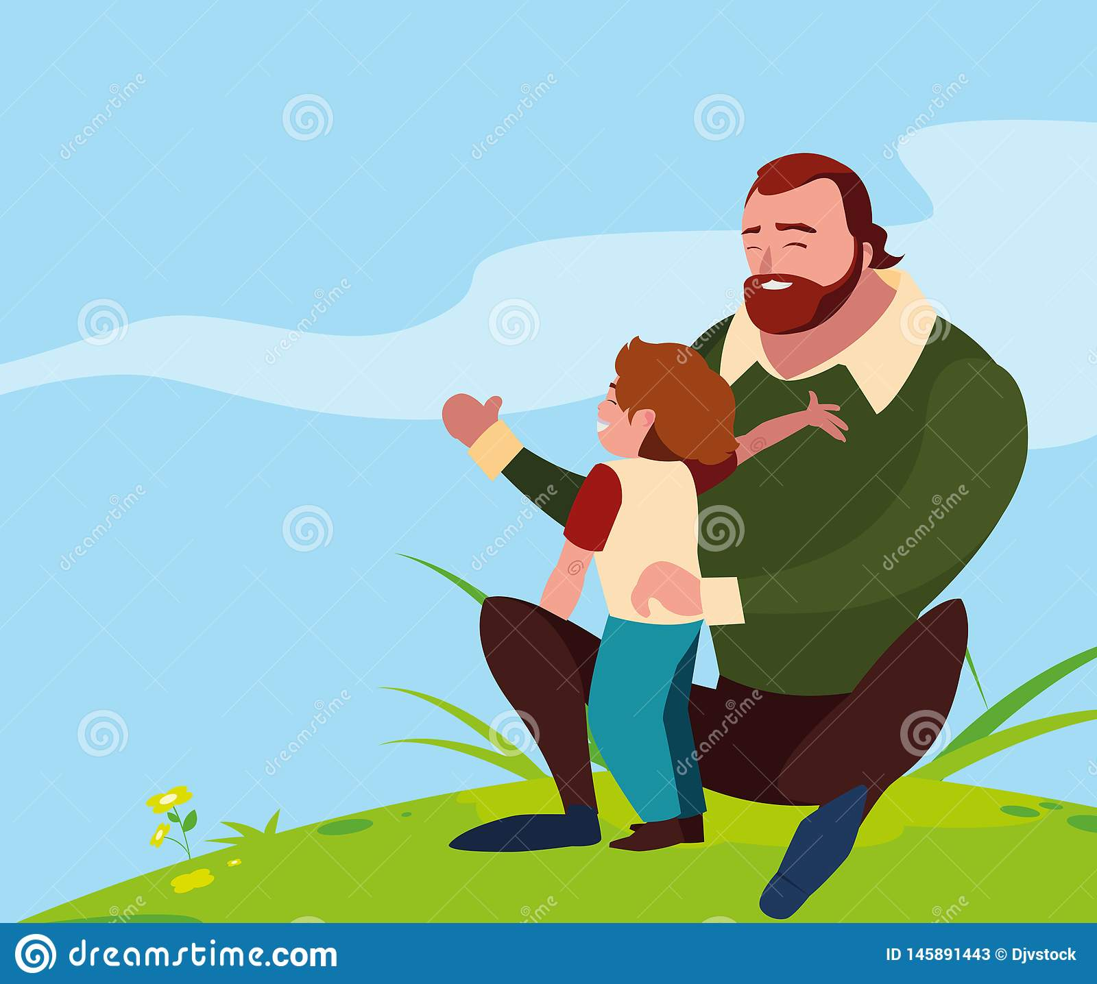 Father with son in the field. Vector illustration design stock photos