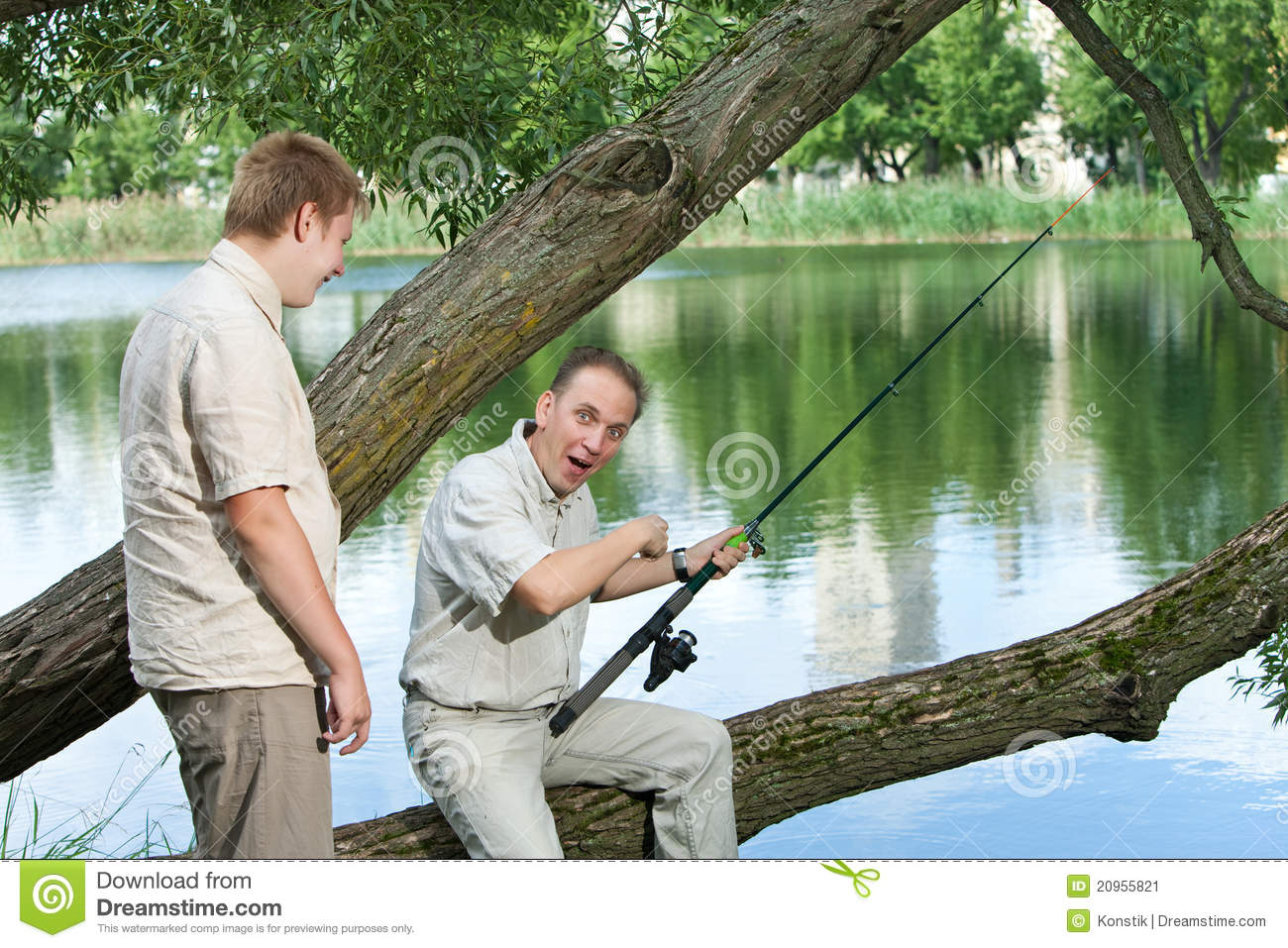 The father with the son on fishing stock image image for Father son fishing