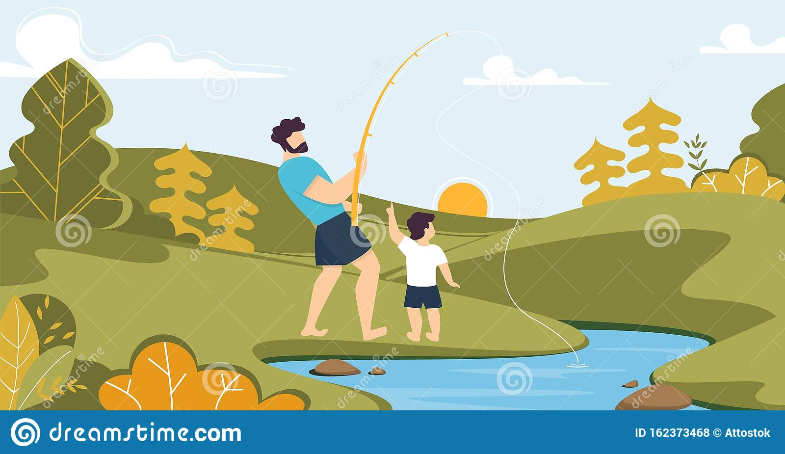 Father And Son Fishing On River In Forest Cartoon Stock ...