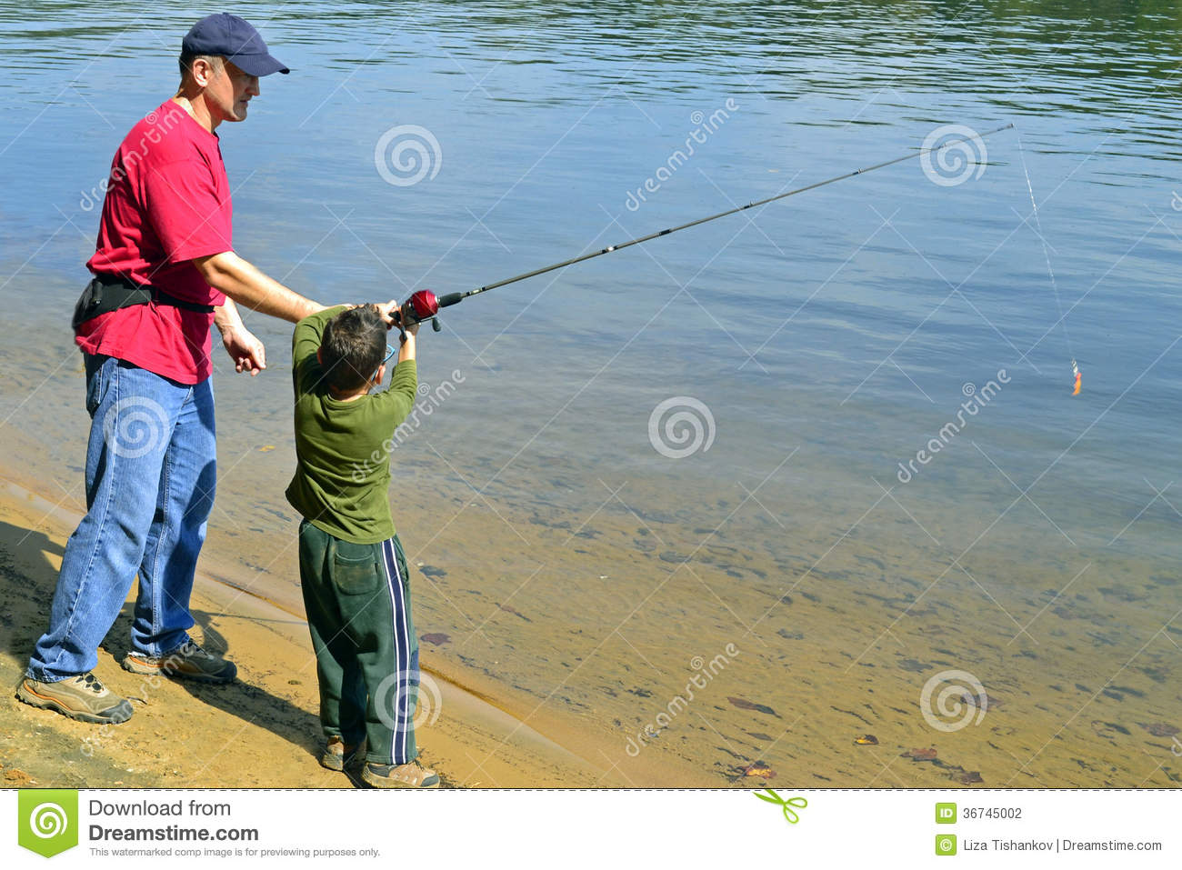 Father and son fishing stock photography image 36745002 for Father son fishing