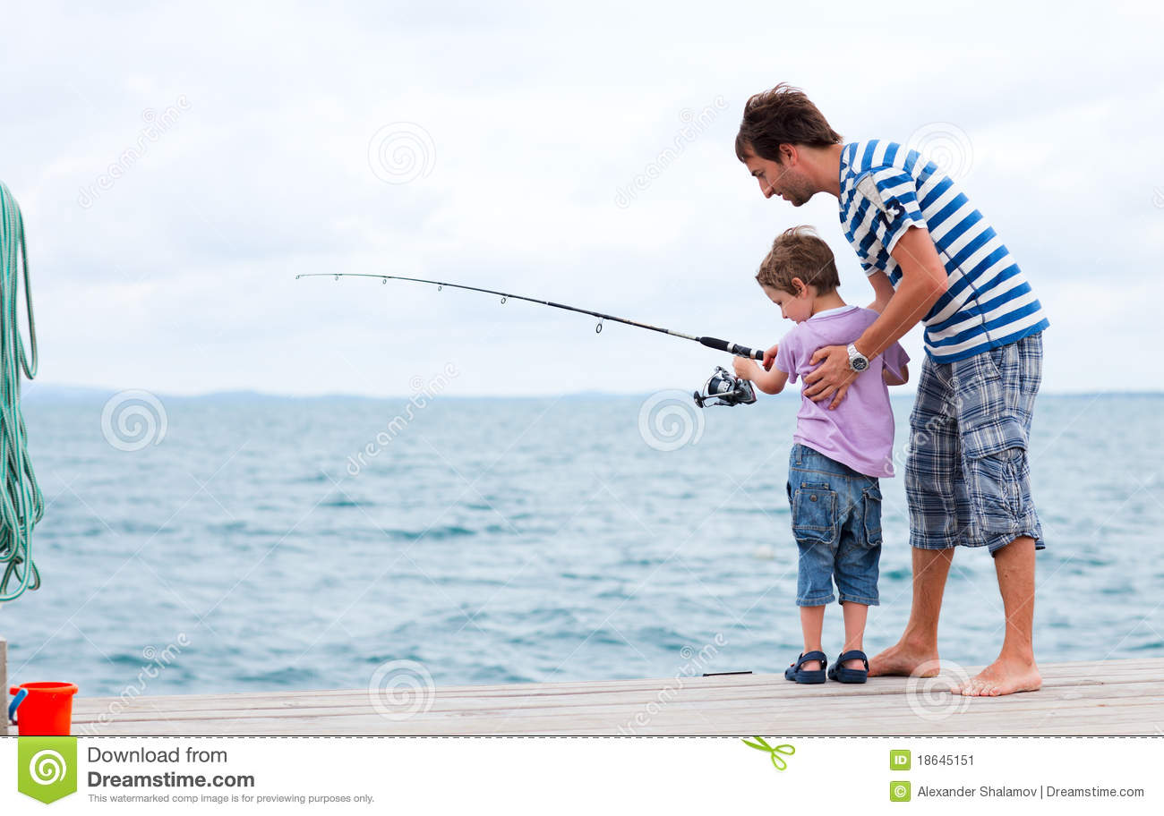 Father and son fishing together stock image image 18645151 for Father son fishing