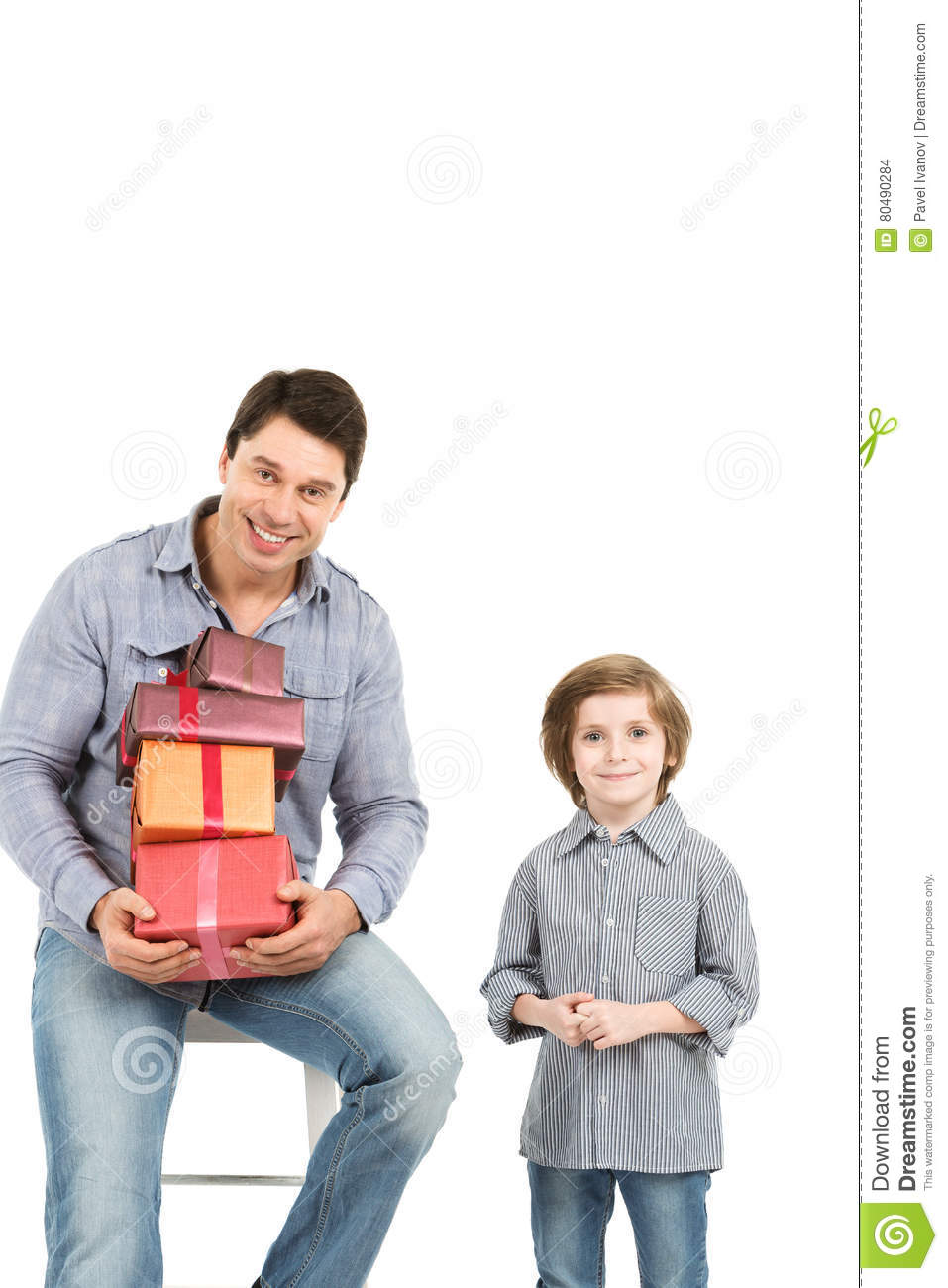 Father and son with gifts  stock photo  Image of white