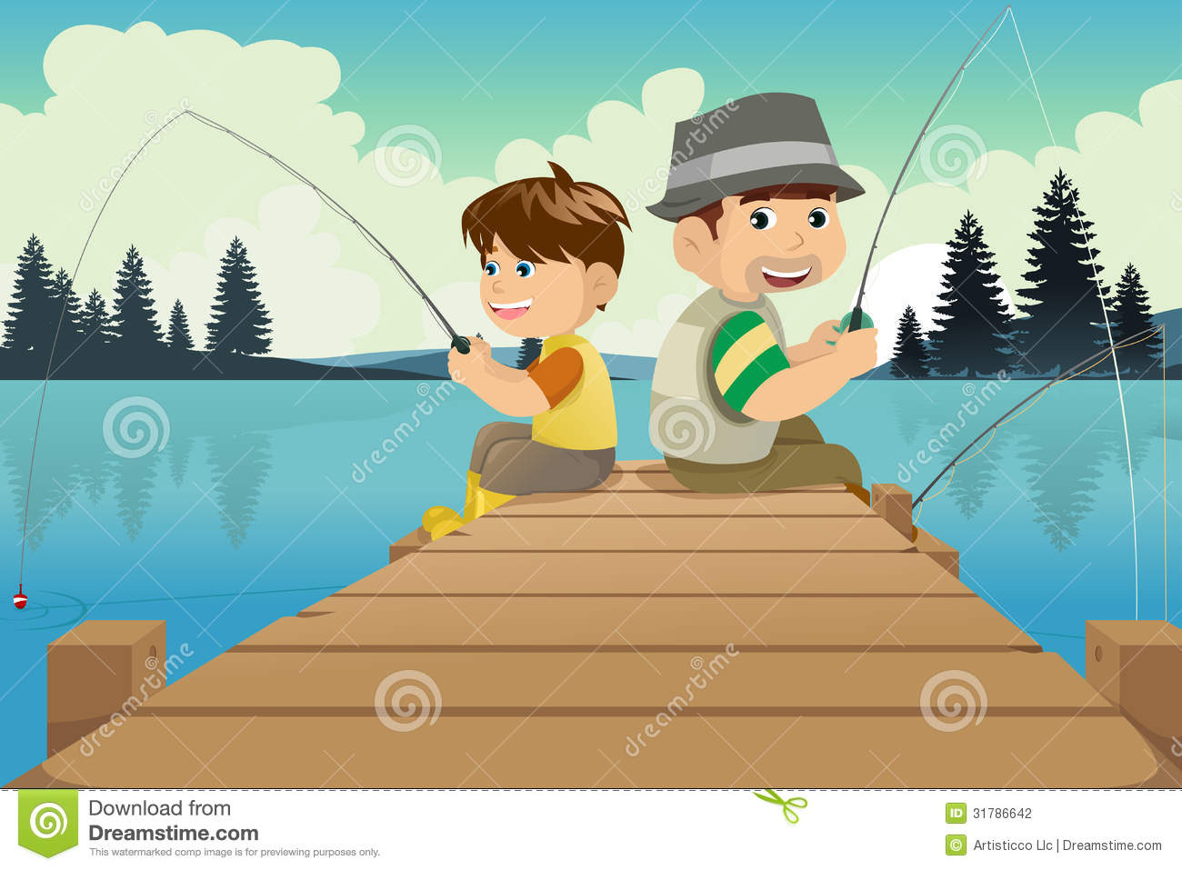 Father And Son Going Fishing In A Lake Stock Vector ...
