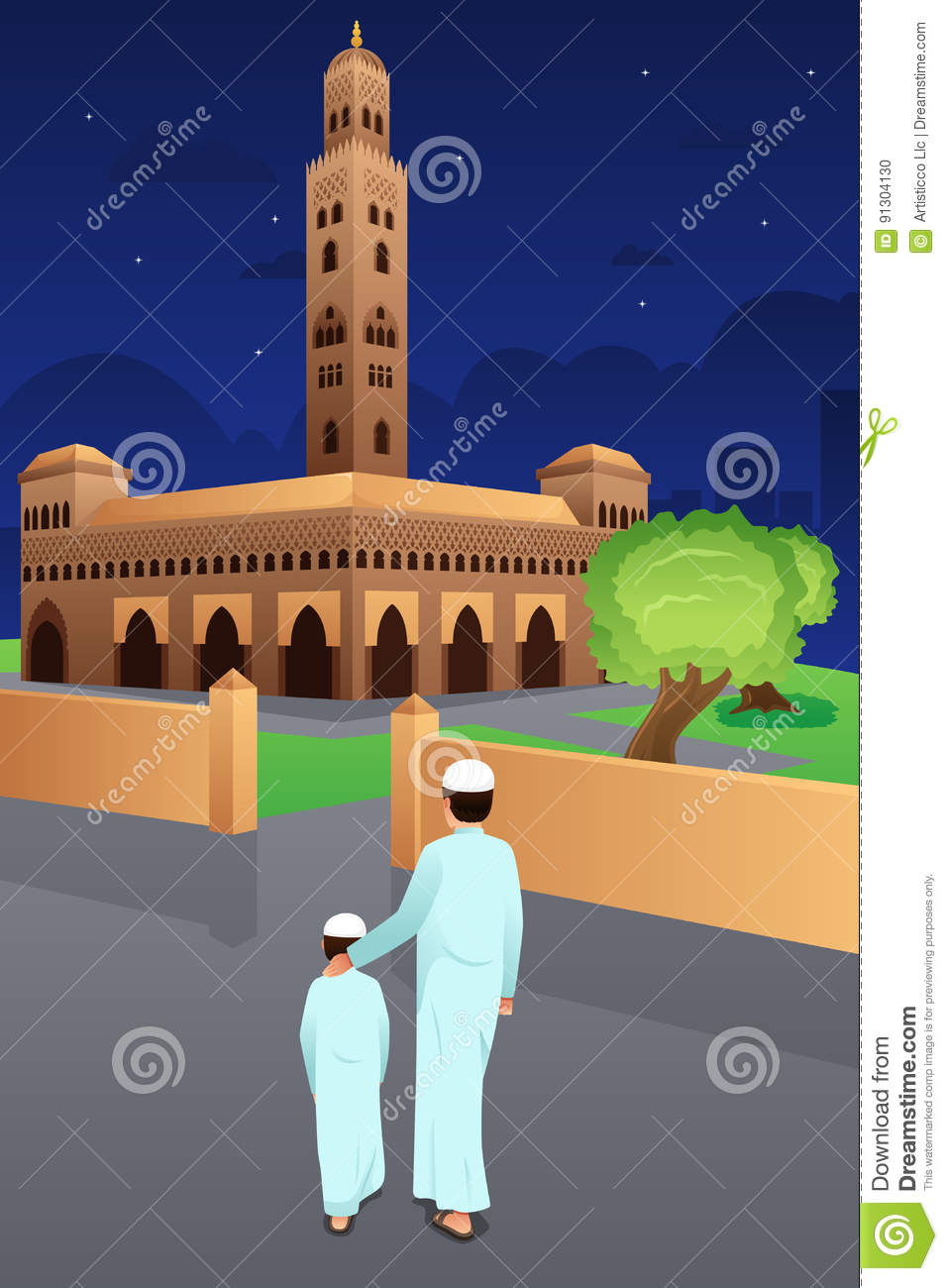 Father and Son Going to Mosque