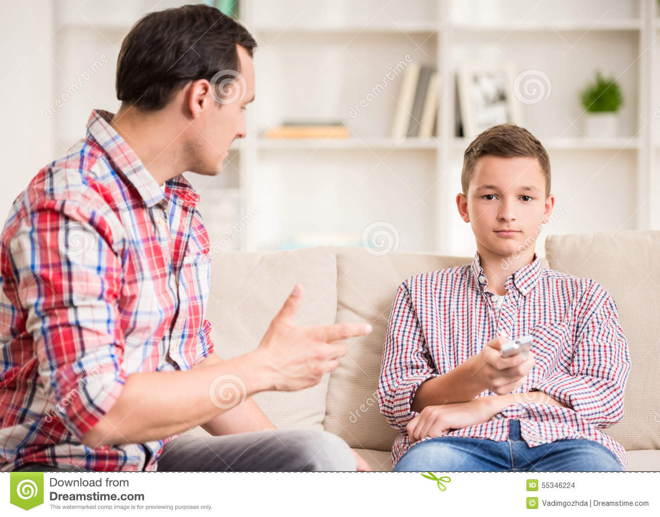 Father And Son At Home Stock Photo Image 55346224 : father son home boy sitting sofa watching television his talking to him 55346224 from dreamstime.com size 1300 x 1018 jpeg 173kB