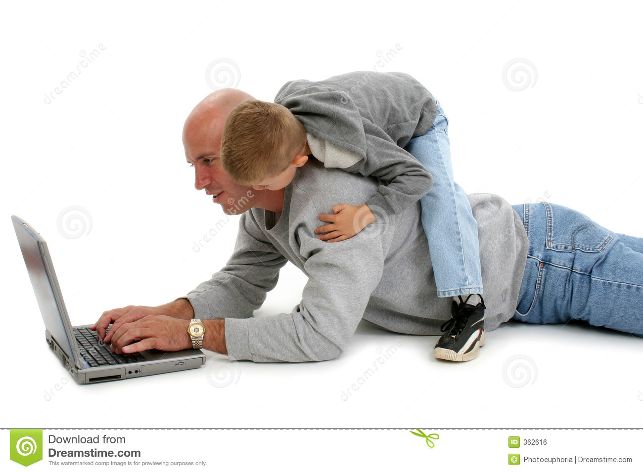 Father Son and Laptop