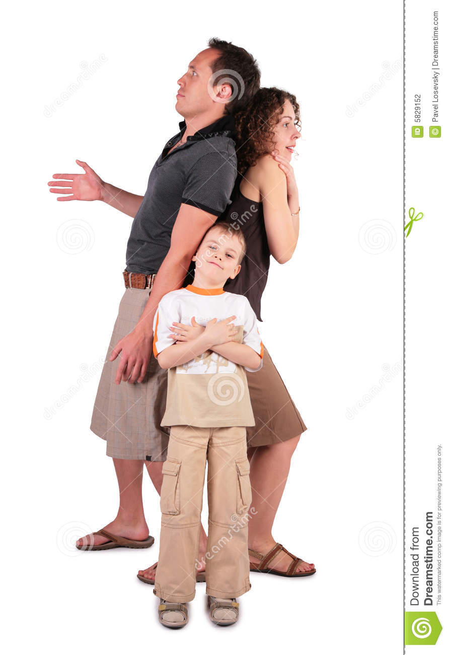 Father, son and mother are surprised, afraid and b