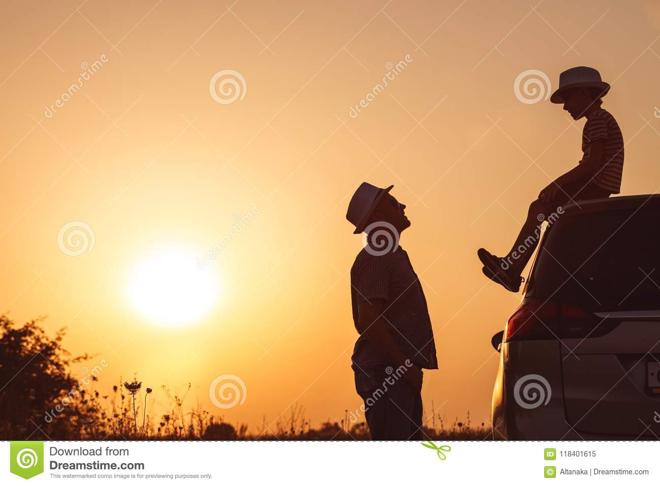 Download Father And Son Playing In The Park At The Sunset Time. Stock Image - Image of family, active: 118401615