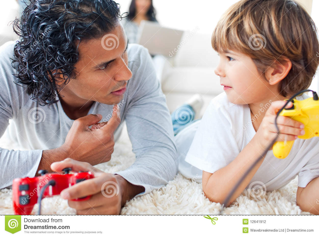 image Son plays video games