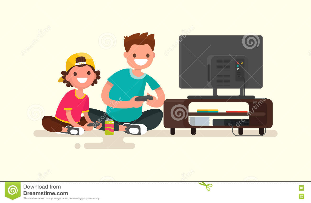 Father And Son Playing Video Games On A Game Console
