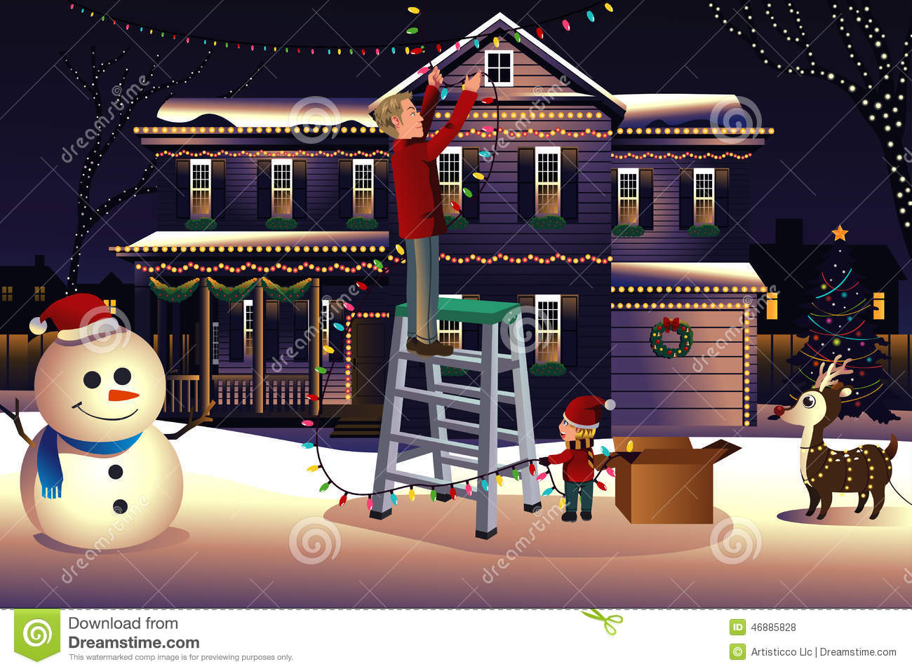Vector illustration of father son putting up lights around the house