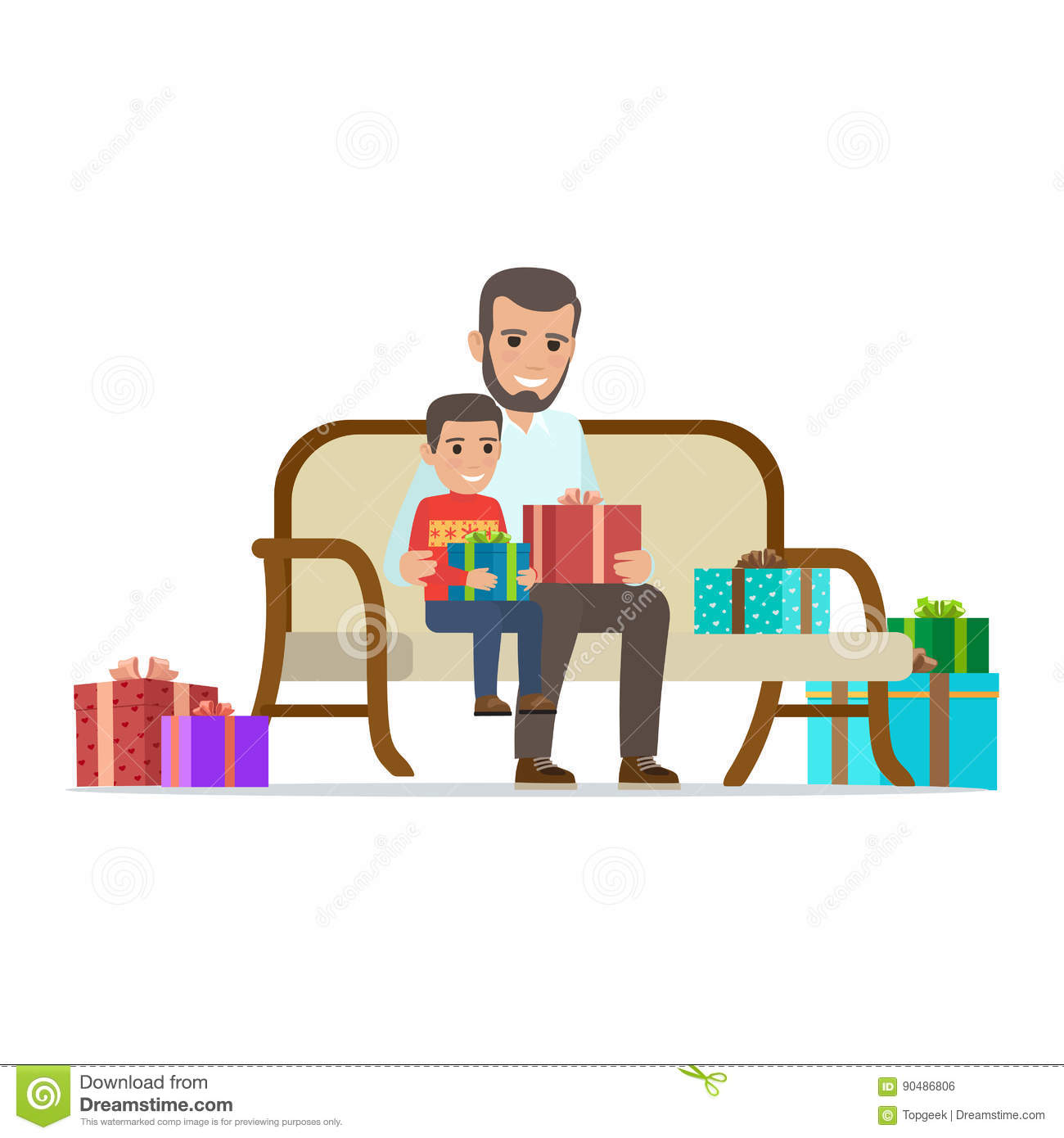 Father And Son Share Gifts  Christmas Illustration Stock