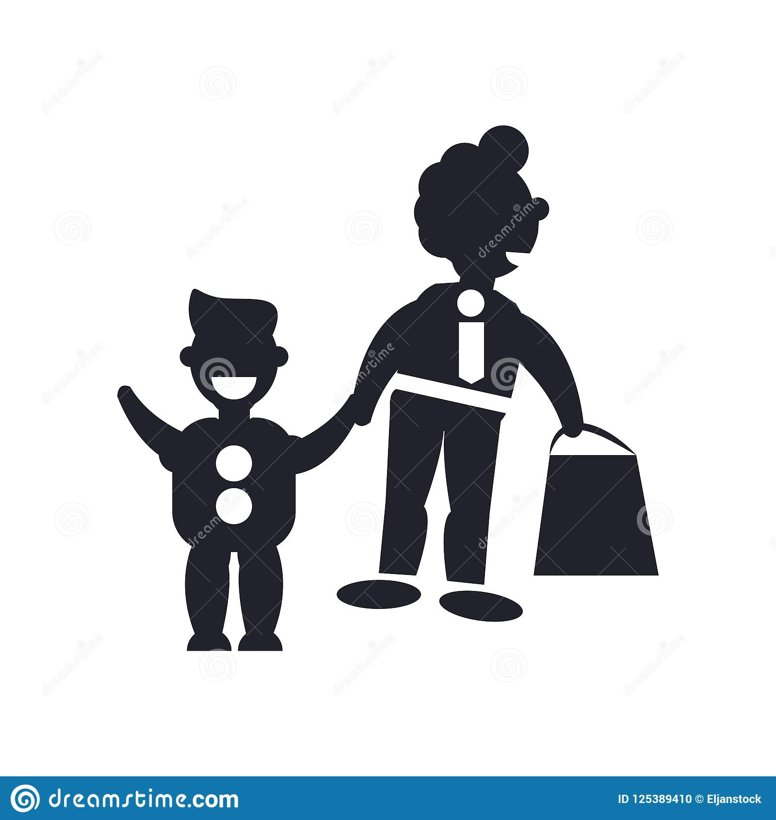 Father And Son Shopping Icon Vector Sign And Symbol Isolated On