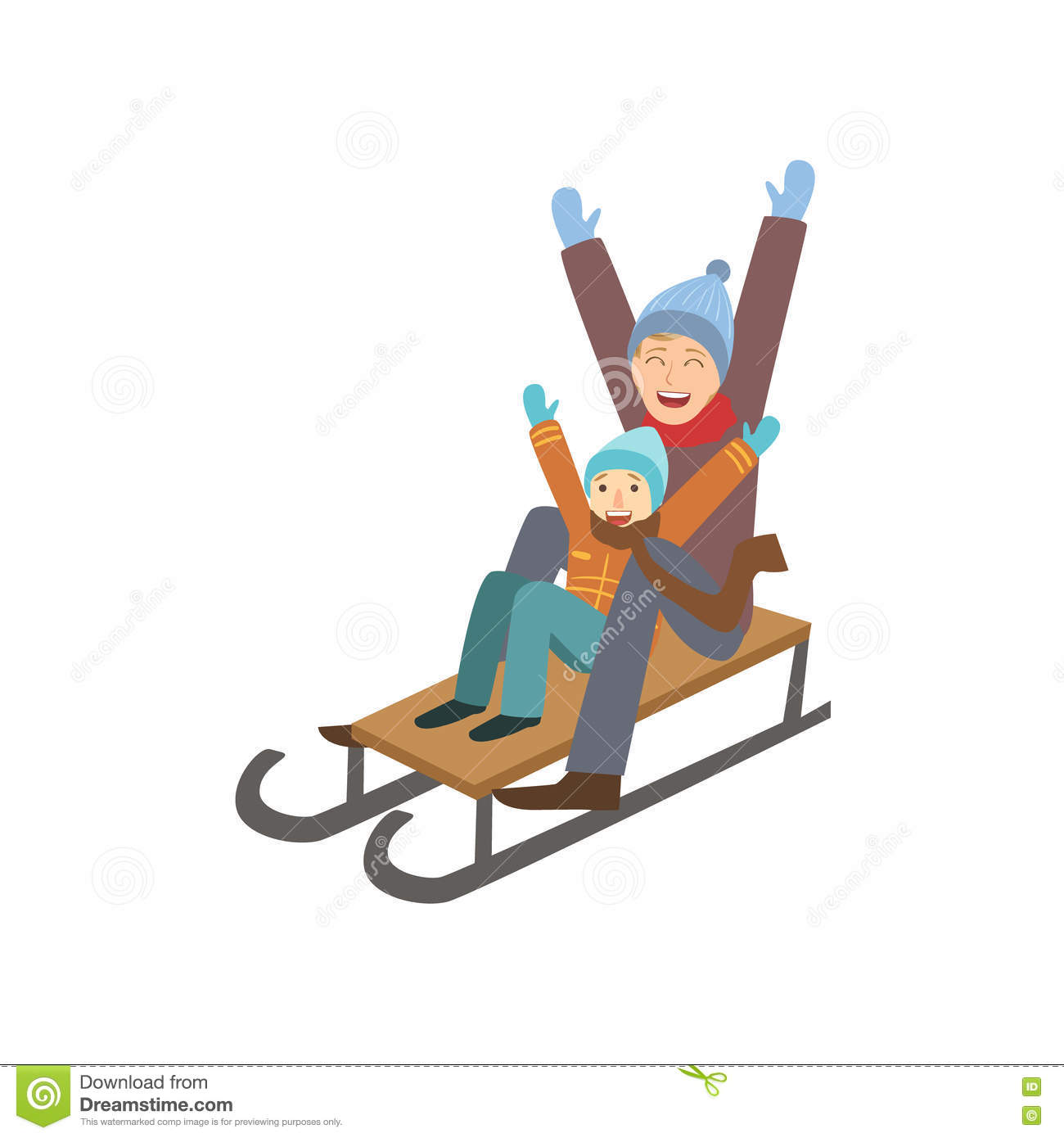 father and son on sled winter sports illustration cartoon. Black Bedroom Furniture Sets. Home Design Ideas
