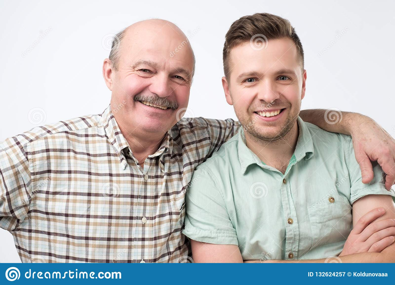 aff03437a Father And Son Standing Together And Smiling. Stock Image - Image of ...