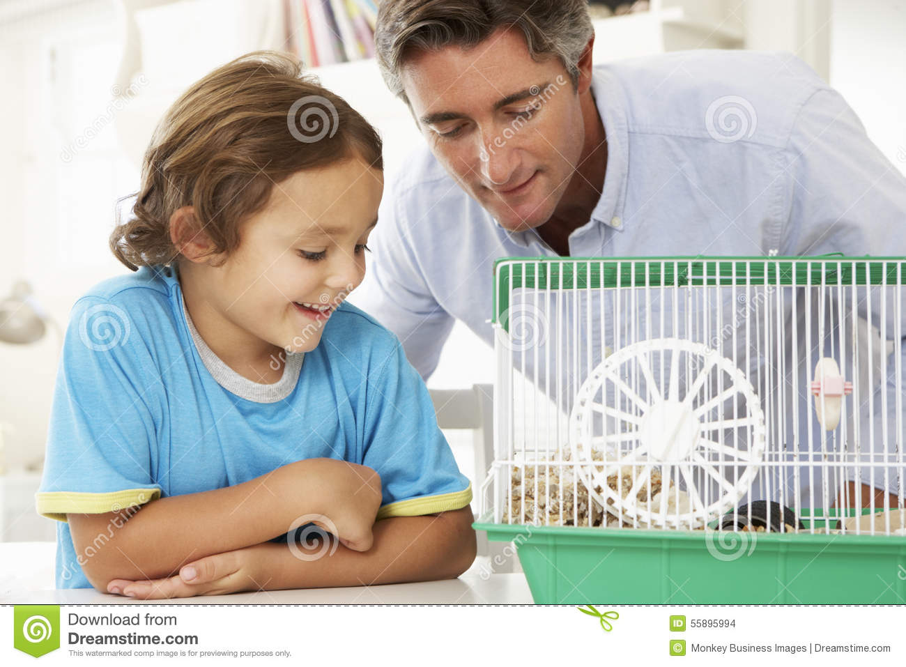 Father And Son Watching Pet Hamster
