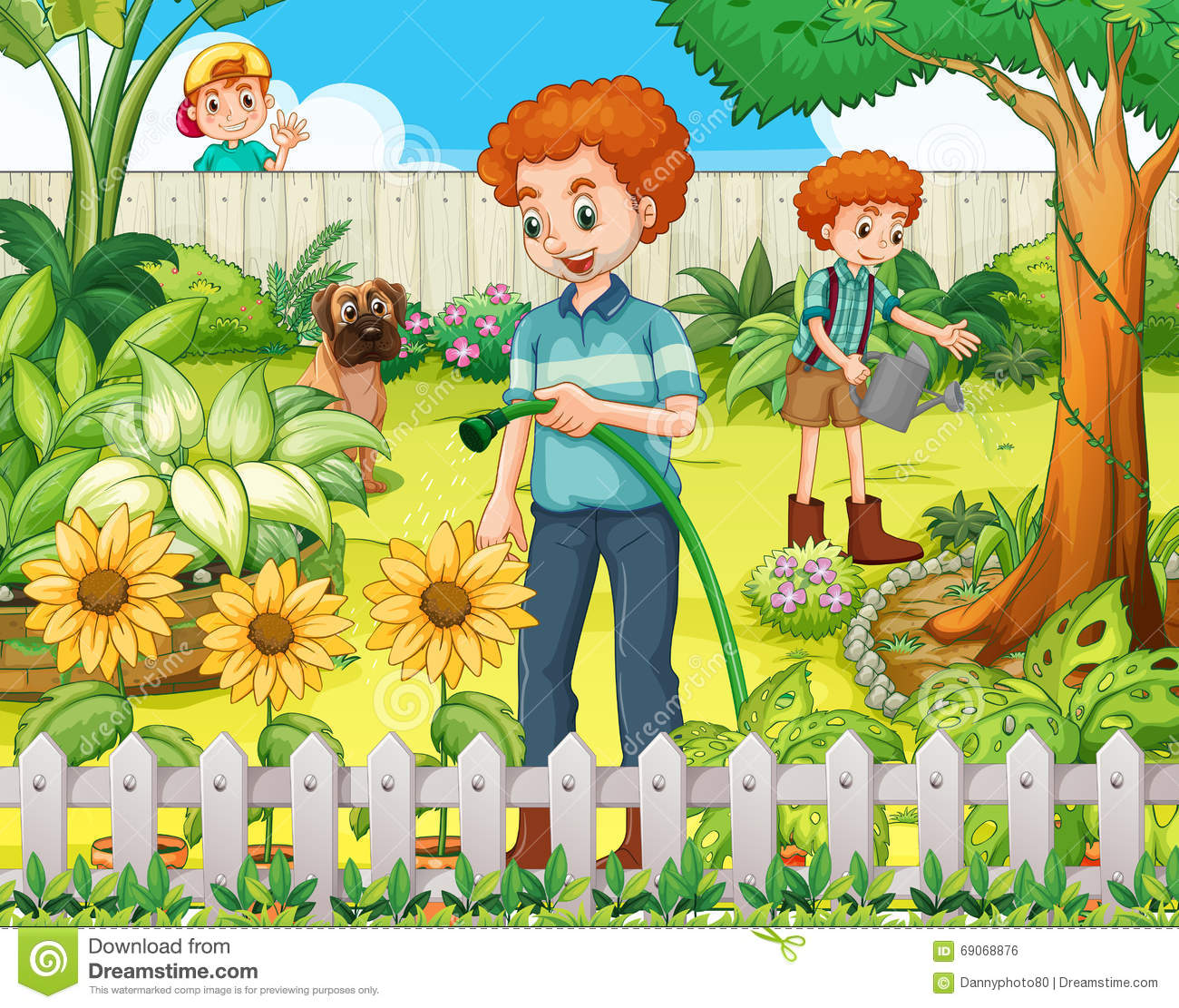 father and son watering the plants in the garden stock father and son clip art free father and son hugging clipart