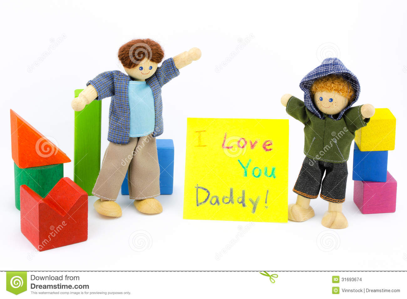 Toys For Dads : Father and son wooden toys with card stock images image
