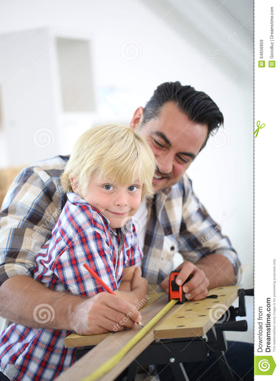 Father And Son Working On Diy Projects At Home Stock Image ...