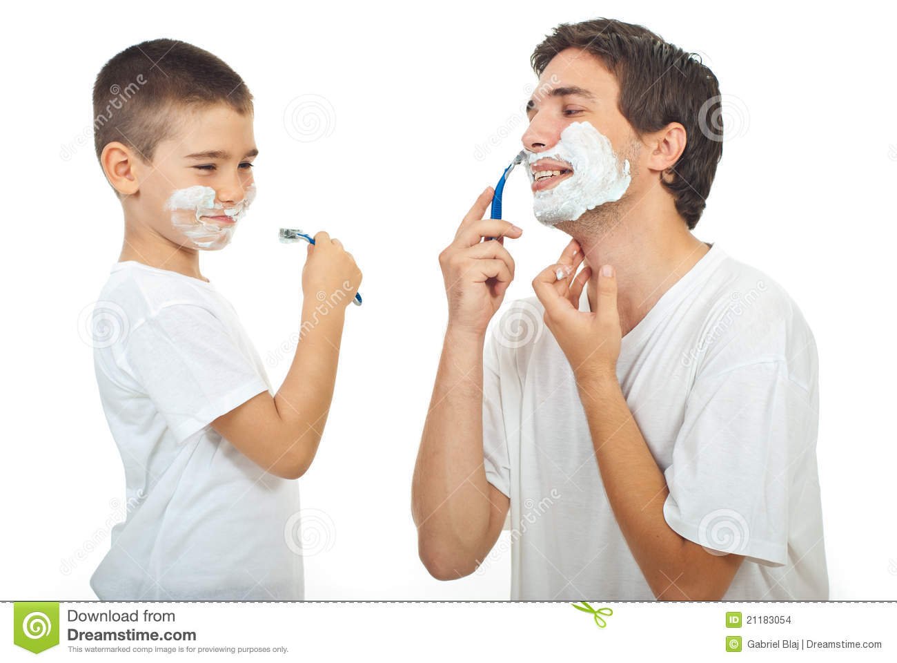 Father teach his son to shave