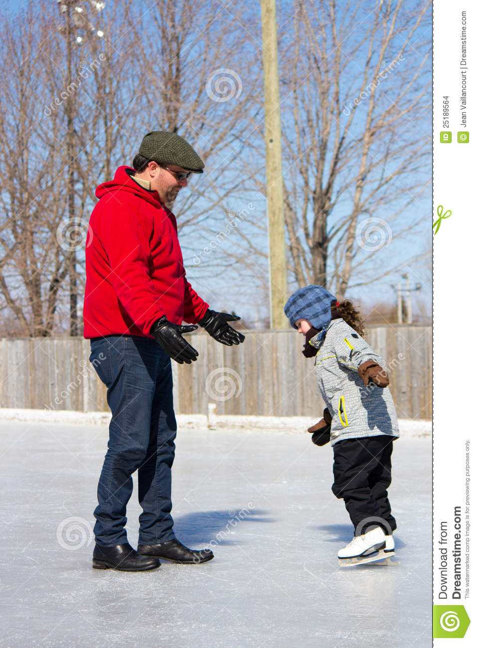 Daughter Father Ice Rink Skate